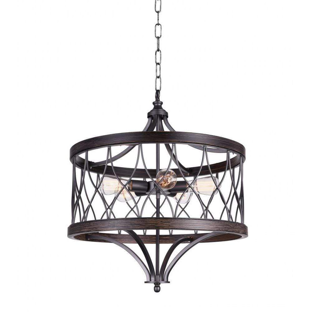 CWI Lighting Chandeliers Gun Metal Amazon 5 Light Drum Shade Chandelier with Gun Metal finish by CWI Lighting 9966P23-5-242-B