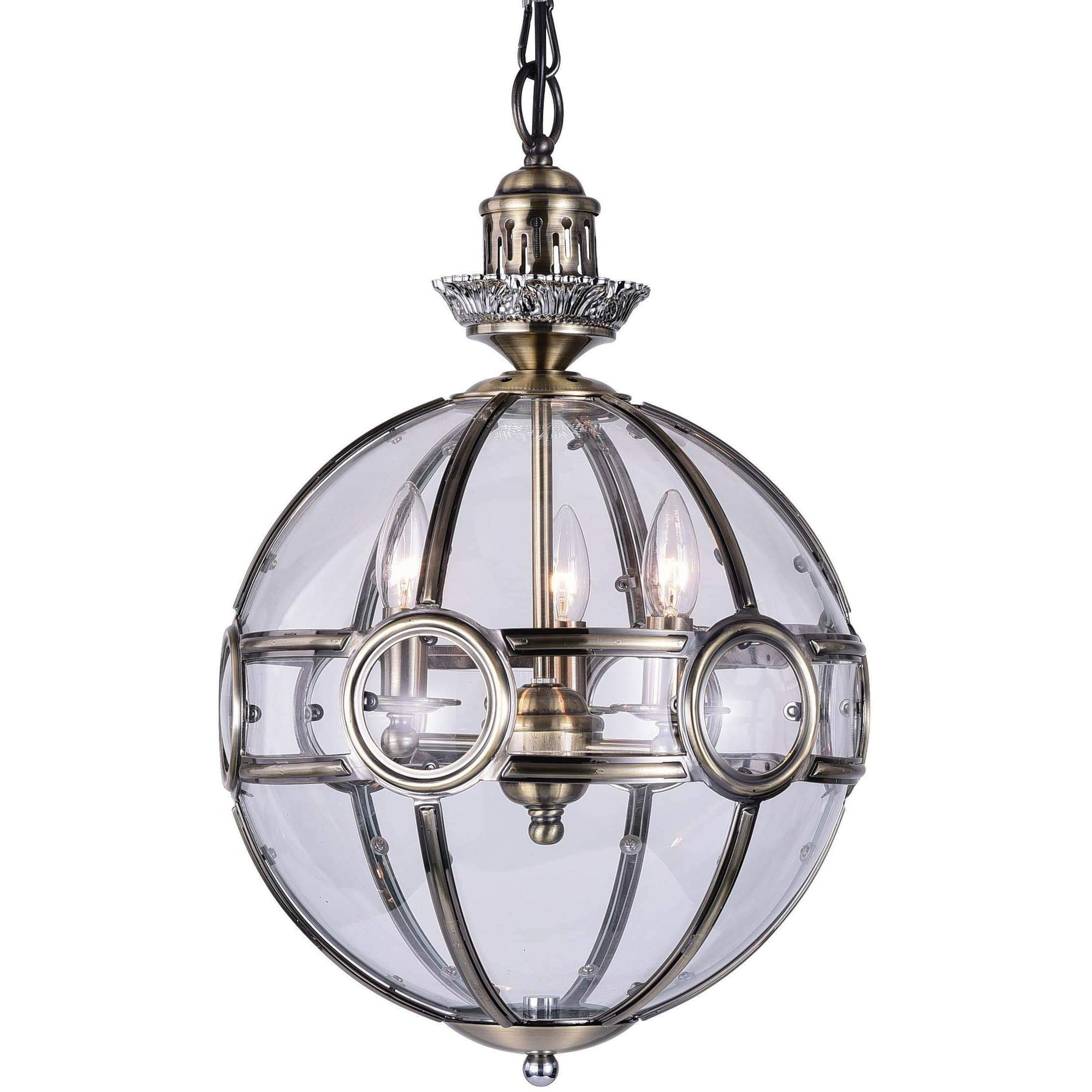 CWI Lighting Pendants Antique Brass Beas 3 Light Chandelier with Antique Brass Finish by CWI Lighting 9696P20-3-604