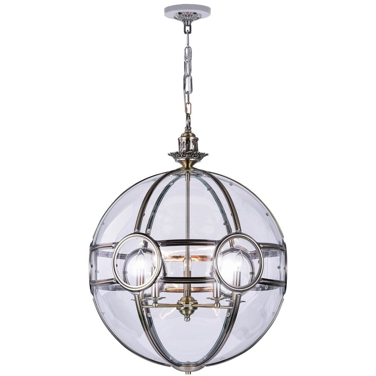 CWI Lighting Pendants Antique Brass Beas 5 Light Chandelier with Antique Brass Finish by CWI Lighting 9696P25-5-604