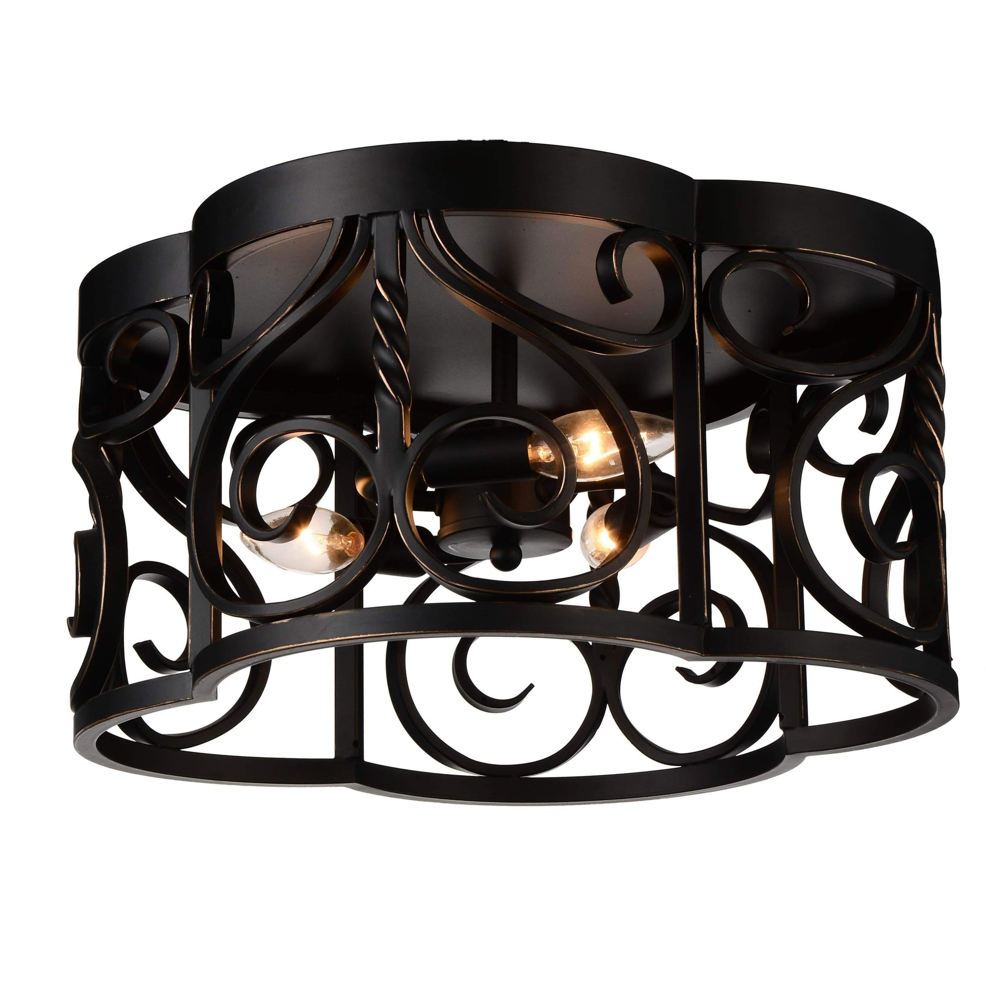 CWI Lighting Flush Mounts Autumn Bronze Branch 3 Light Cage Flush Mount with Autumn Bronze finish by CWI Lighting 9888C16-3-122