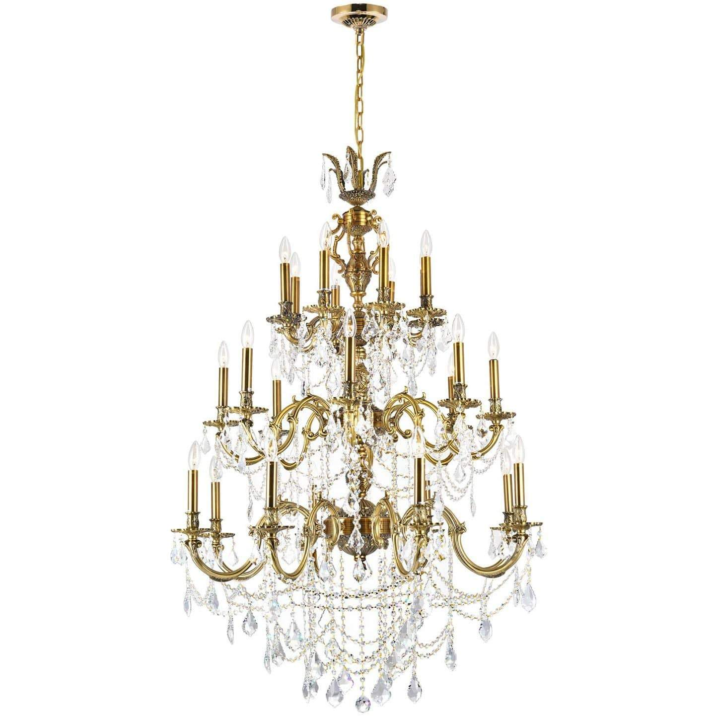 CWI Lighting Chandeliers Antique Brass / K9 Clear Brass 16 Light Up Chandelier with Antique Brass finish by CWI Lighting 2039P30AB-16