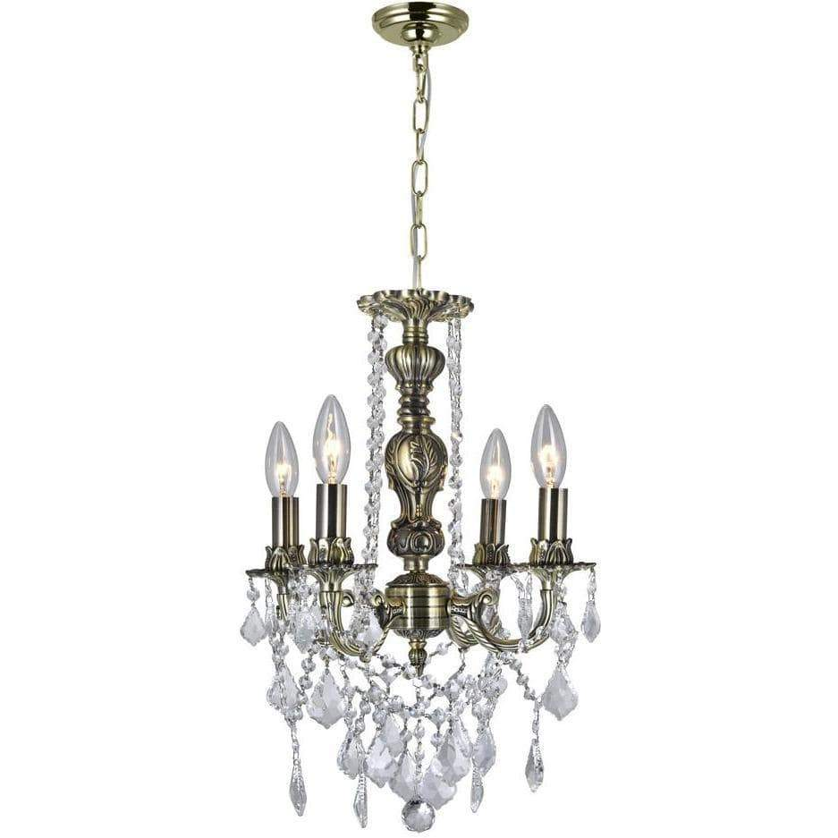 CWI Lighting Chandeliers Antique Brass / K9 Clear Brass 4 Light Up Chandelier with Antique Brass finish by CWI Lighting 2031P14AB-4