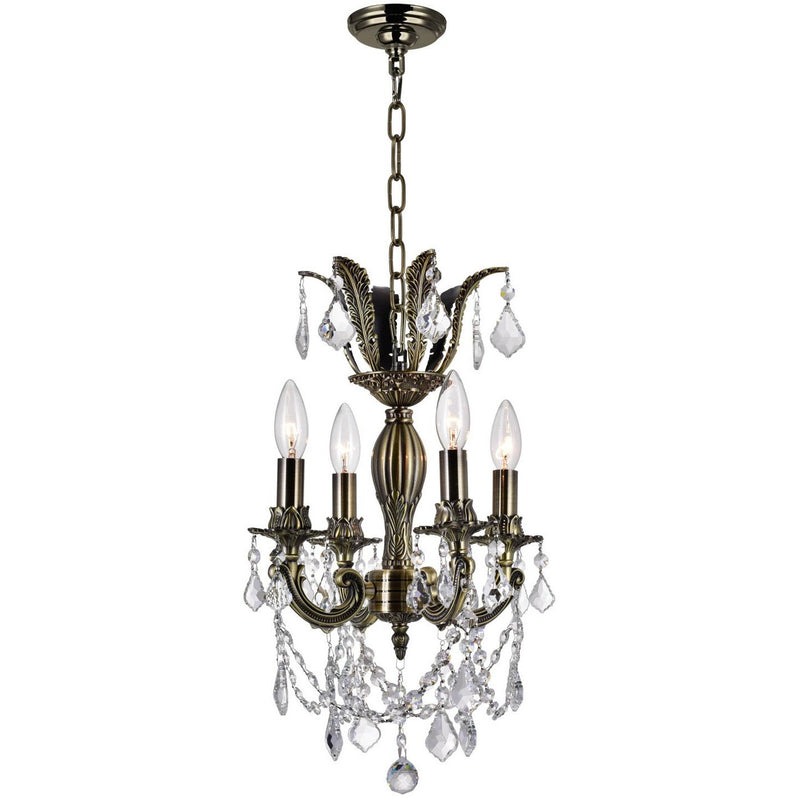CWI Lighting Chandeliers Antique Brass Brass 4 Light Up Chandelier with Antique Brass finish by CWI Lighting 2033P14AB-4