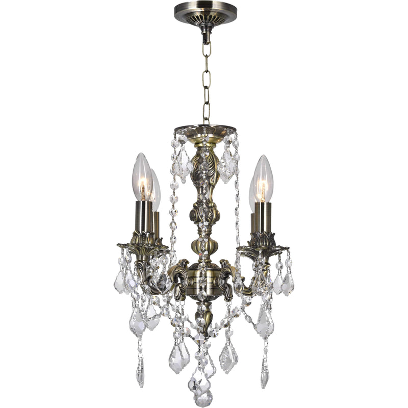 CWI Lighting Chandeliers Antique Brass / K9 Clear Brass 4 Light Up Chandelier with Antique Brass finish by CWI Lighting 2037P14AB-4
