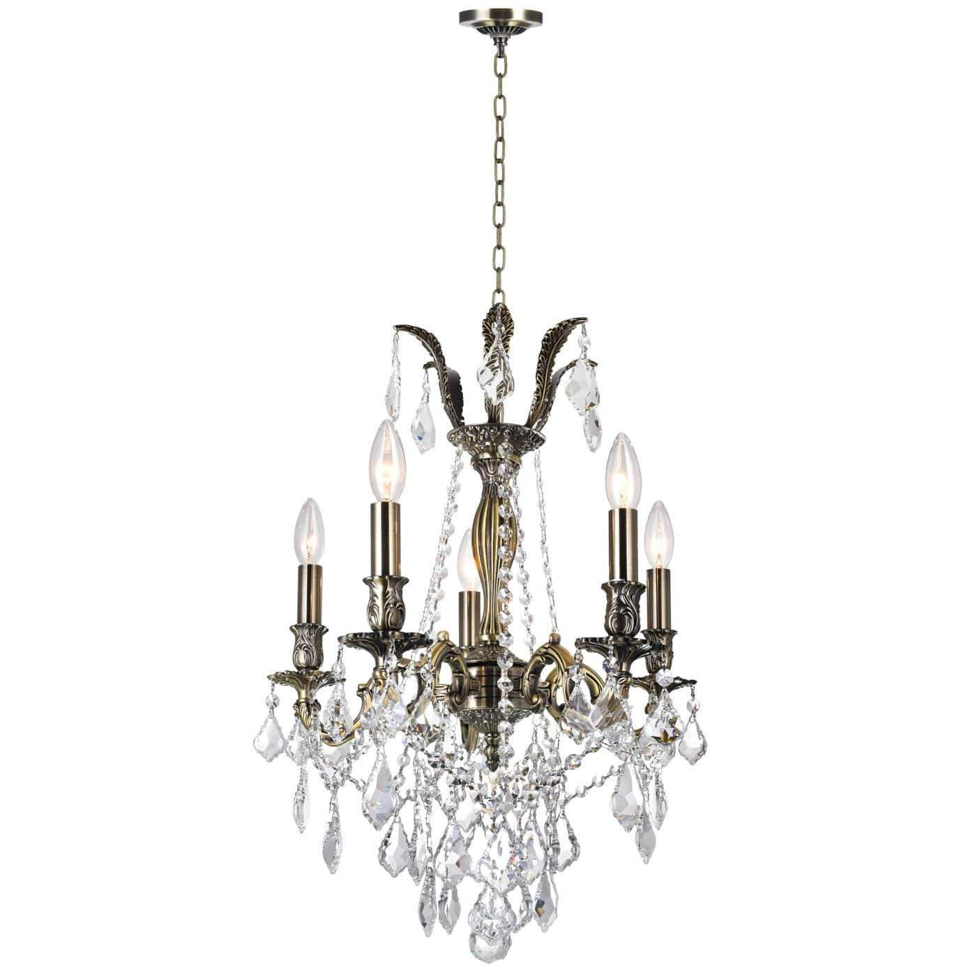CWI Lighting Chandeliers Antique Brass / K9 Clear Brass 5 Light Up Chandelier with Antique Brass finish by CWI Lighting 2034P18AB-5