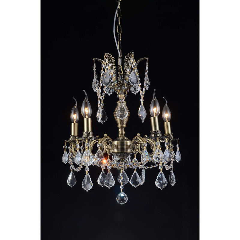 CWI Lighting Chandeliers Antique Brass / K9 Clear Brass 5 Light Up Chandelier with Antique Brass finish by CWI Lighting 2039P18AB-5