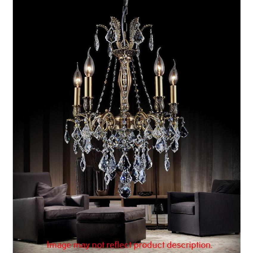 CWI Lighting Chandeliers French Gold / K9 Clear Brass 5 Light Up Chandelier with French Gold finish by CWI Lighting 2034P18GB-5