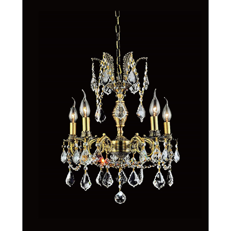CWI Lighting Chandeliers French Gold / K9 Clear Brass 5 Light Up Chandelier with French Gold finish by CWI Lighting 2039P18GB-5
