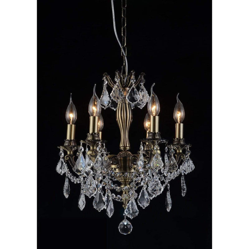 CWI Lighting Chandeliers Antique Brass / K9 Clear Brass 6 Light Up Chandelier with Antique Brass finish by CWI Lighting 2035P18AB-6