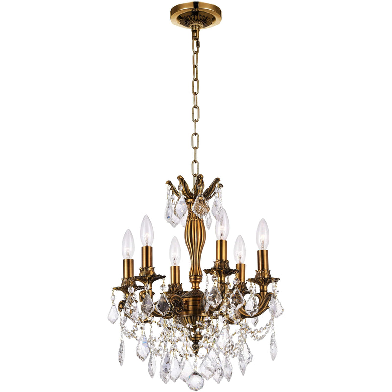CWI Lighting Chandeliers French Gold / K9 Clear Brass 6 Light Up Chandelier with French Gold finish by CWI Lighting 2035P18GB-6