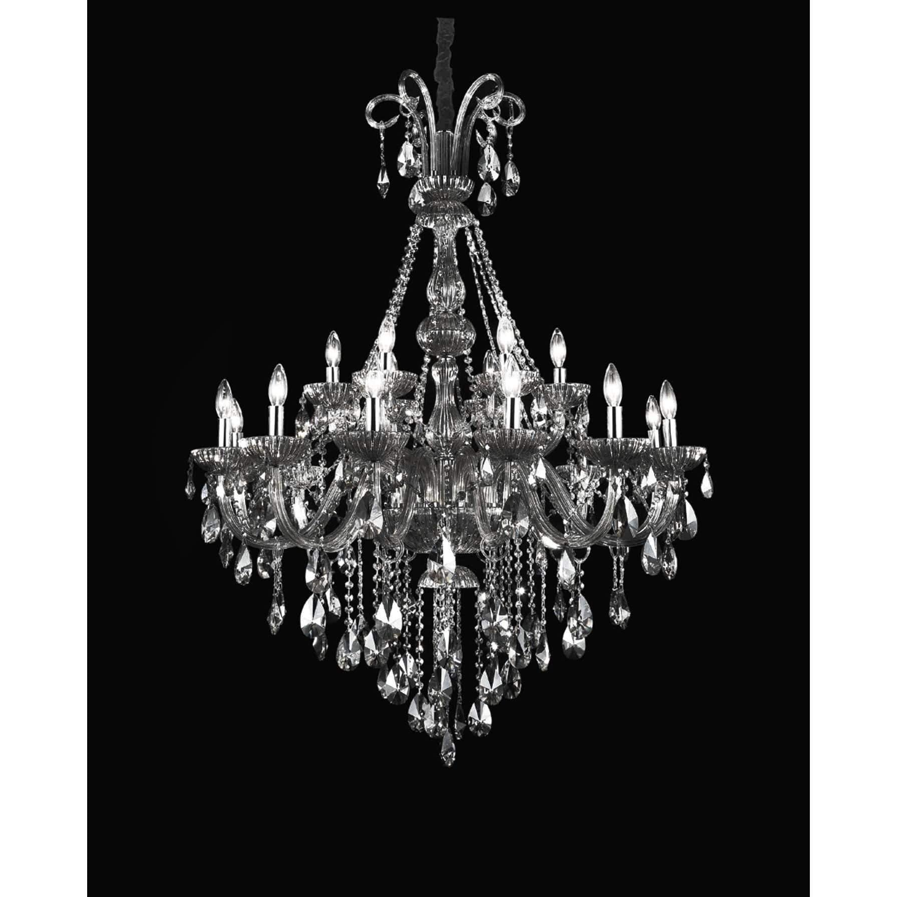 Casper 18 Light Up Chandelier with Chrome finish by CWI Lighting 8393P39C-18 (Black)