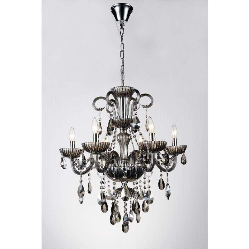 CWI Lighting Chandeliers Chrome / K9 Smoke Casper 6 Light Up Chandelier with Chrome finish by CWI Lighting 8393P24C-6 ( Smoke)