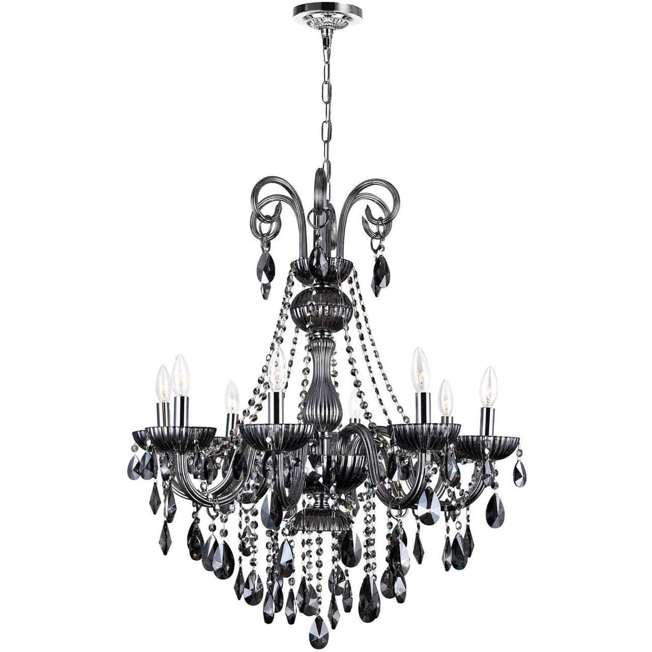 CWI Lighting Chandeliers Chrome / K9 Smoke Casper 8 Light Up Chandelier with Chrome finish by CWI Lighting 8393P28C-8 (Smoke)