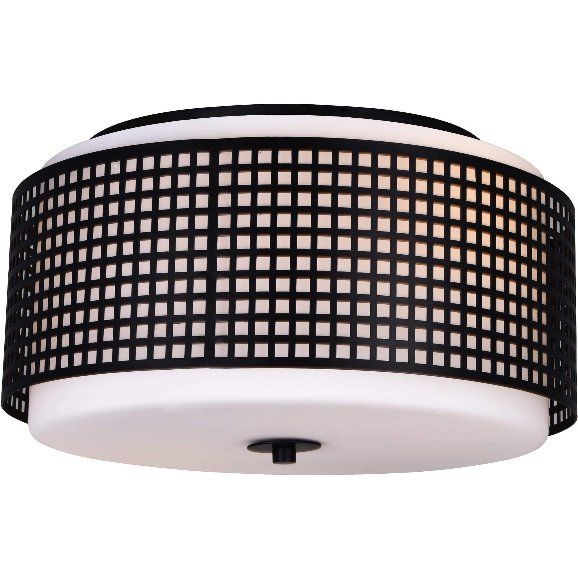 CWI Lighting Flush Mounts Black Checkered 2 Light Drum Shade Flush Mount with Black finish by CWI Lighting 5209C15B