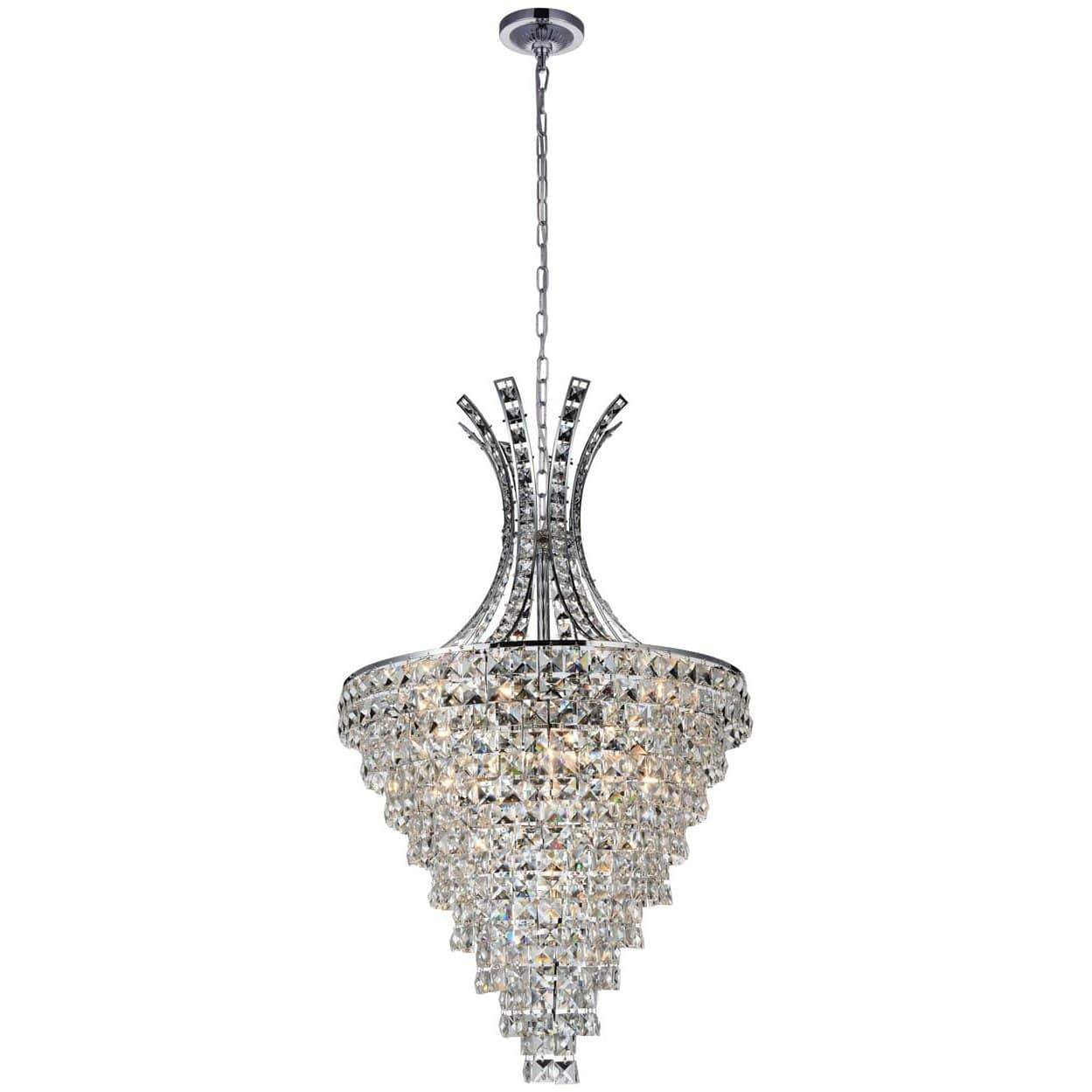 CWI Lighting Chandeliers Chrome / K9 Clear Chique 13 Light Chandelier with Chrome finish by CWI Lighting 5685P24C