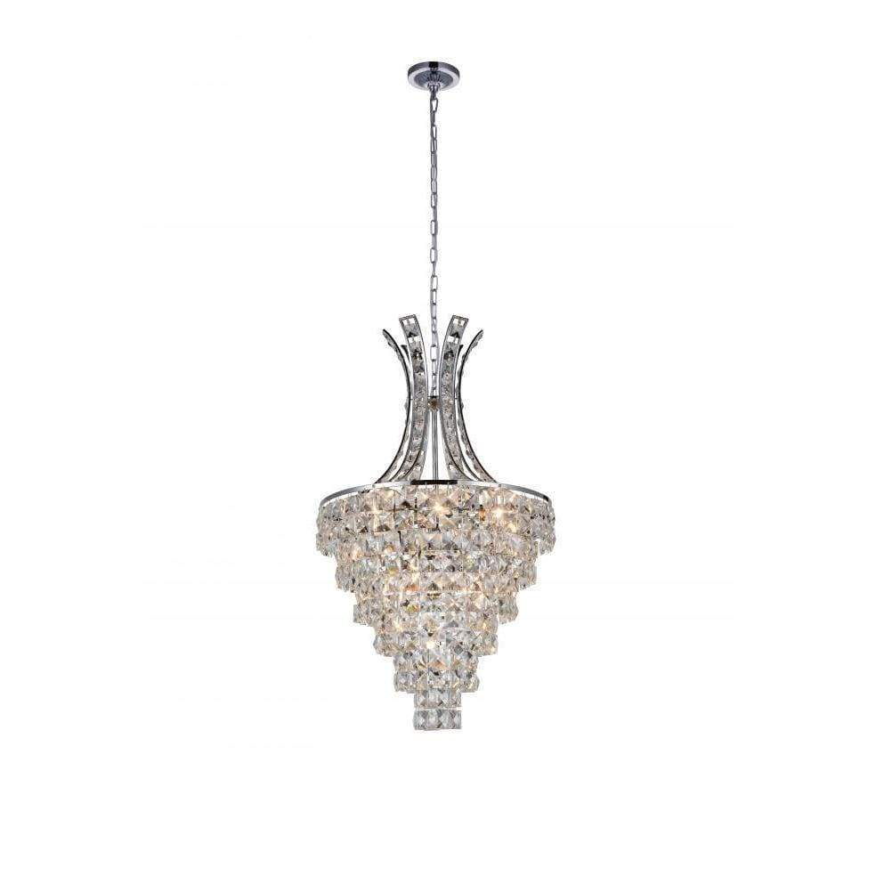 CWI Lighting Chandeliers Chrome / K9 Clear Chique 9 Light Chandelier with Chrome finish by CWI Lighting 5685P16C