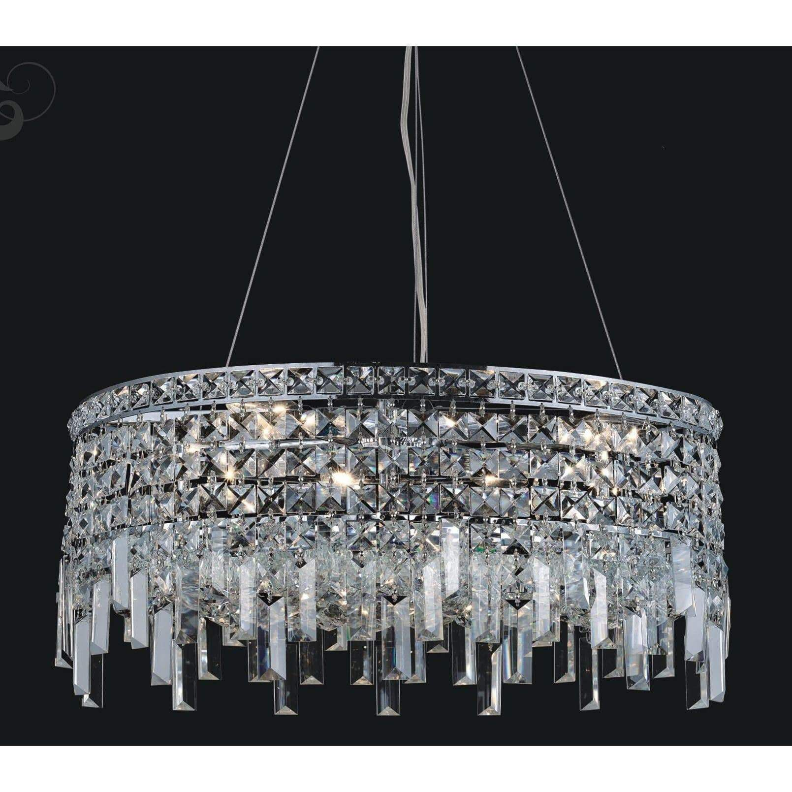 CWI Lighting Chandeliers Chrome / K9 Clear Colosseum 10 Light Down Chandelier with Chrome finish by CWI Lighting 8031P24C-R