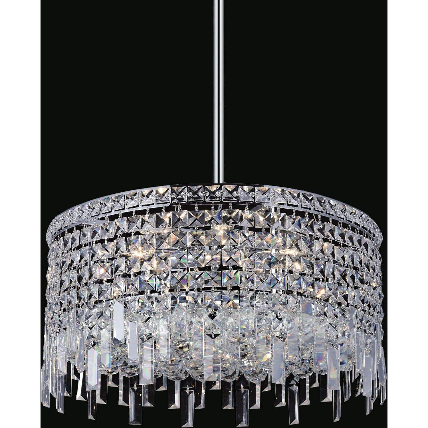 CWI Lighting Chandeliers Chrome / K9 Clear Colosseum 8 Light Down Chandelier with Chrome finish by CWI Lighting 8031P20C-R