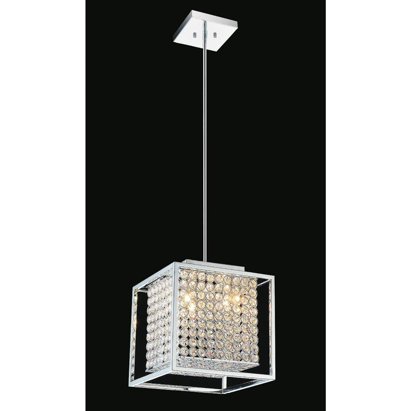 CWI Lighting Chandeliers Chrome / K9 Clear Cube 3 Light Chandelier with Chrome finish by CWI Lighting QS8381P12C-S