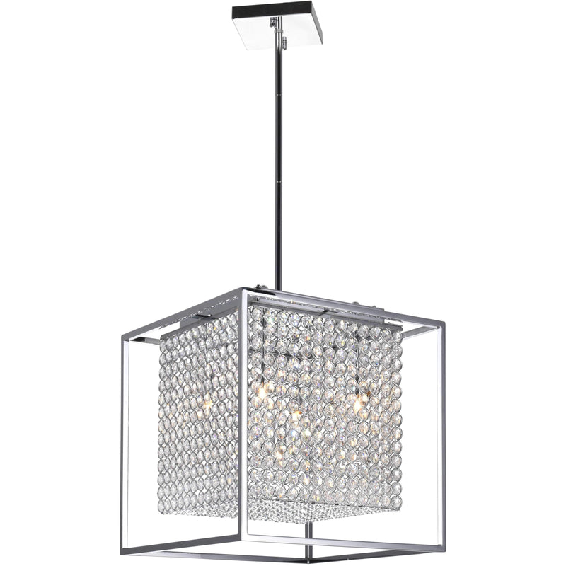 CWI Lighting Chandeliers Chrome / K9 Clear Cube 5 Light Chandelier with Chrome finish by CWI Lighting QS8381P14C-S