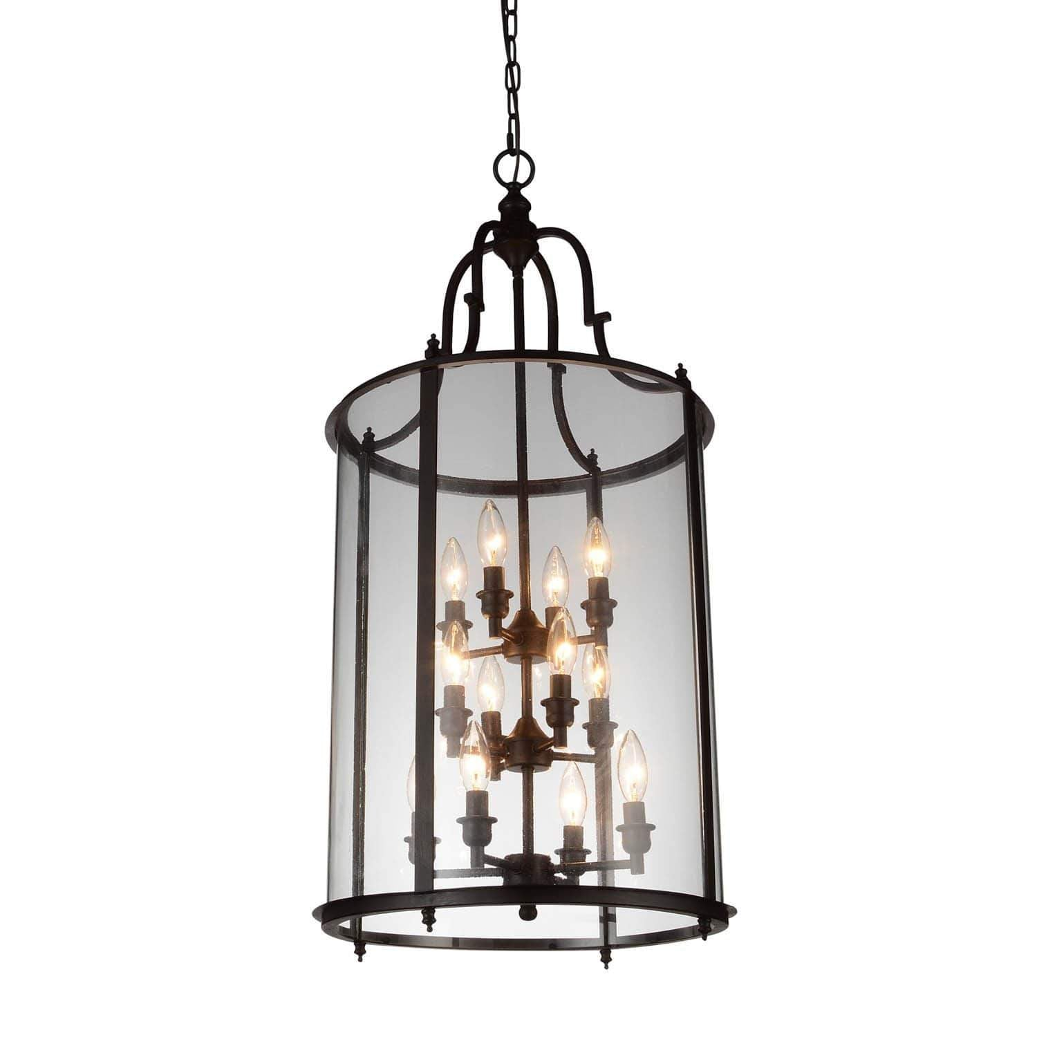CWI Lighting Chandeliers Oil Rubbed Bronze Desire 12 Light Drum Shade Chandelier with Oil Rubbed Bronze finish by CWI Lighting 9809P17-12-109-A