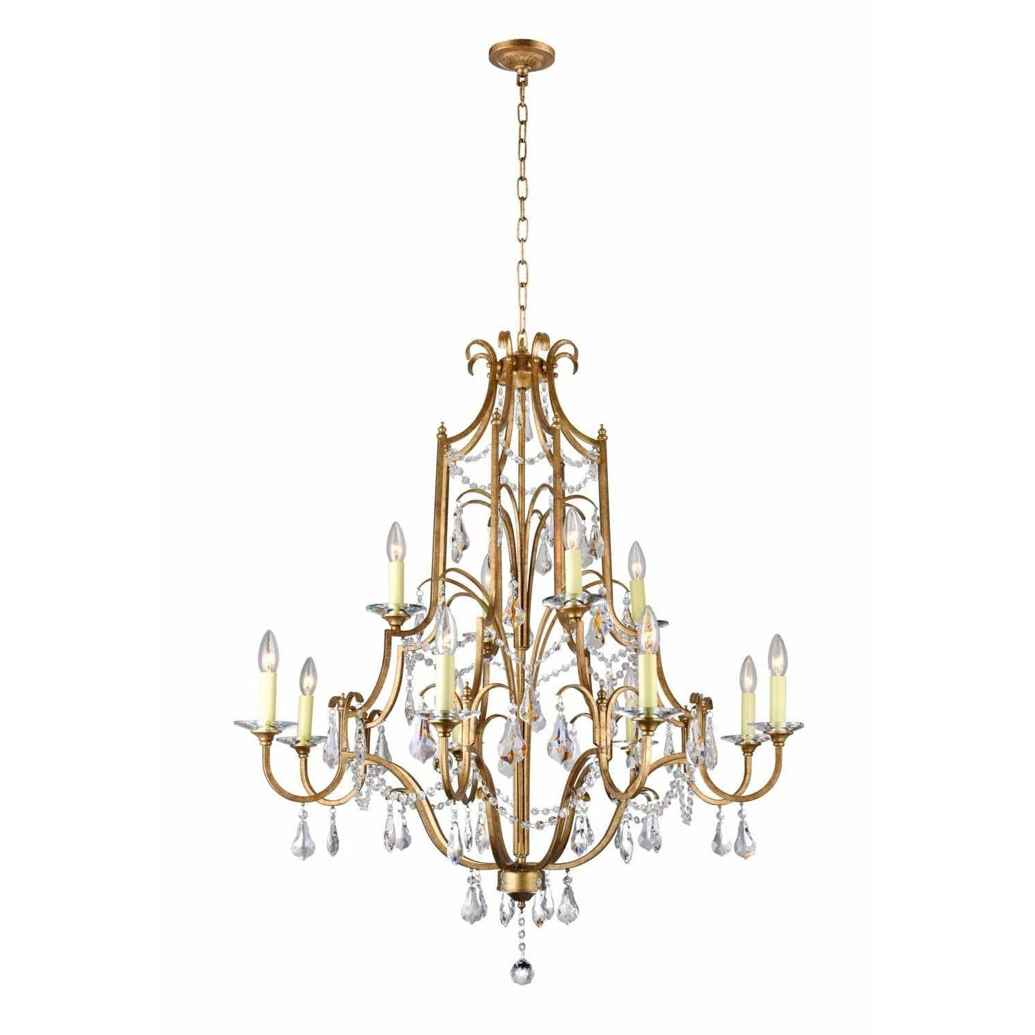 CWI Lighting Chandeliers Oxidized Bronze / K9 Clear Electra 12 Light Up Chandelier with Oxidized Bronze finish by CWI Lighting 9836P37-12-125