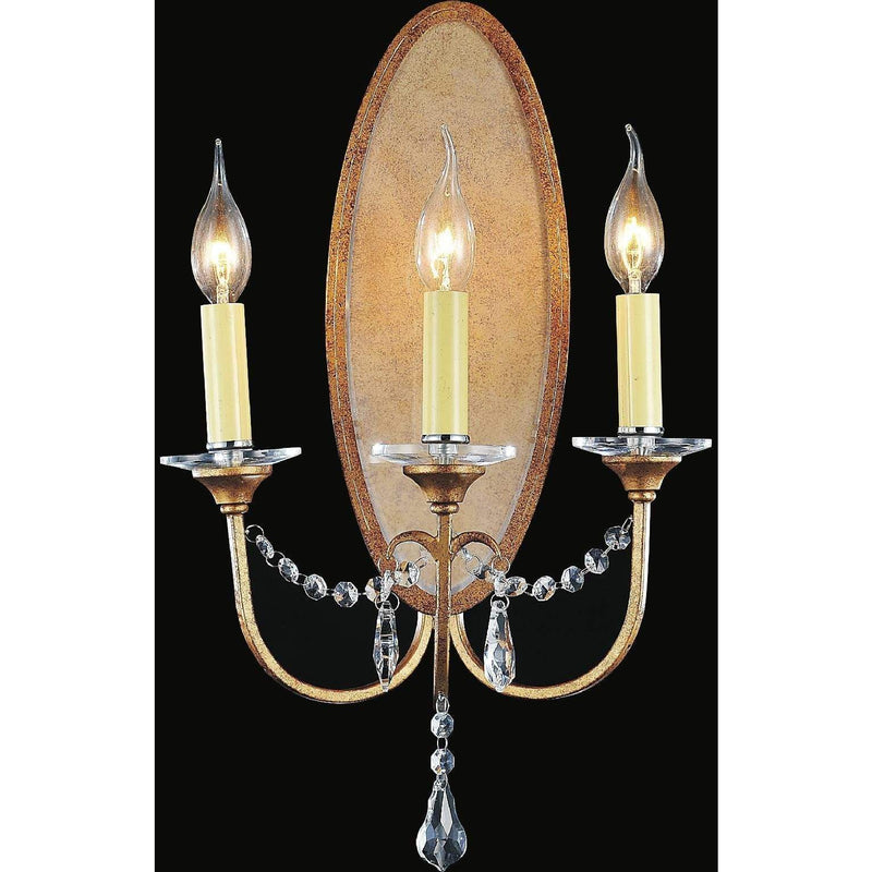 CWI Lighting Wall Sconces Oxidized Bronze / K9 Clear Electra 3 Light Wall Sconce with Oxidized Bronze finish by CWI Lighting 9836W12-3-125