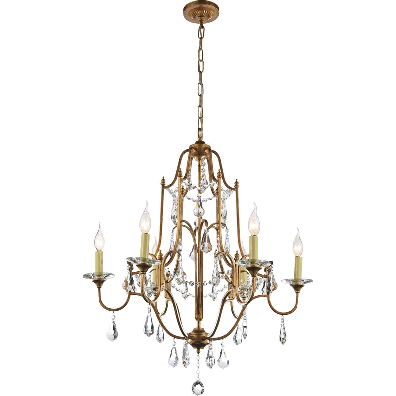 CWI Lighting Chandeliers Oxidized Bronze / K9 Clear Electra 6 Light Up Chandelier with Oxidized Bronze finish by CWI Lighting 9836P28-6-125