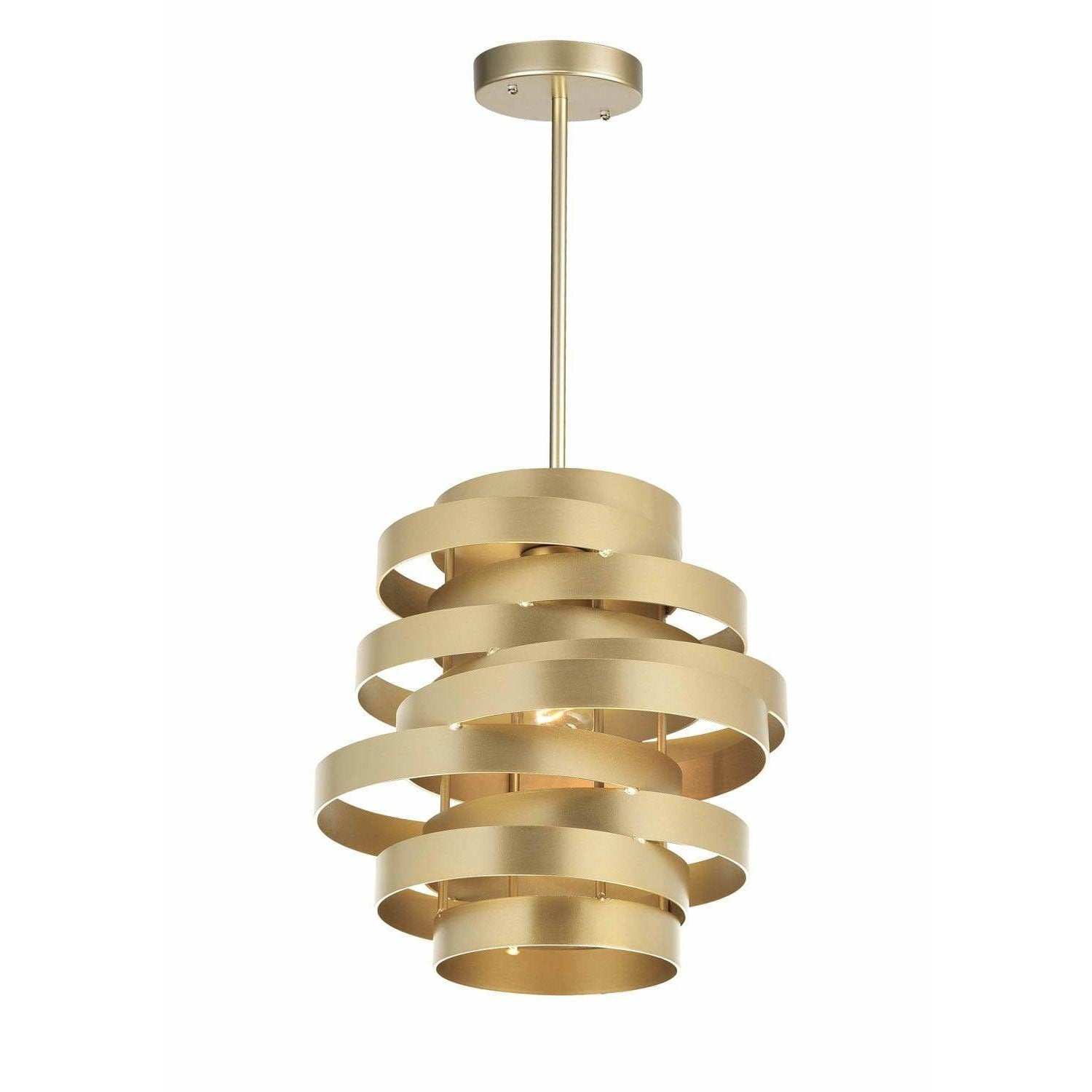 CWI Lighting Pendants Gold Leaf Elizabetta 1 Light Pendant with Gold Leaf Finish by CWI Lighting 1068P10-1-620