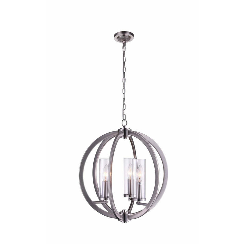 CWI Lighting Chandeliers Satin Nickel / Clear Elton 3 Light Chandelier with Satin Nickel finish by CWI Lighting 9951P16-3-606