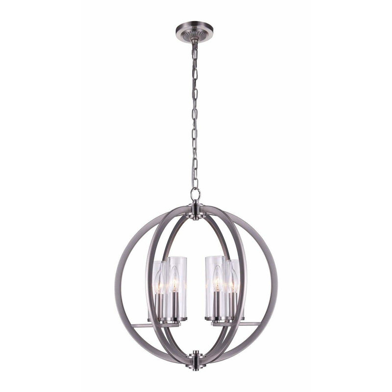 CWI Lighting Chandeliers Satin Nickel / Clear Elton 6 Light Chandelier with Satin Nickel finish by CWI Lighting 9951P19-6-606