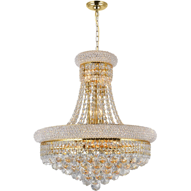 CWI Lighting Chandeliers Gold / K9 Clear Empire 14 Light Down Chandelier with Gold finish by CWI Lighting 8001P20G