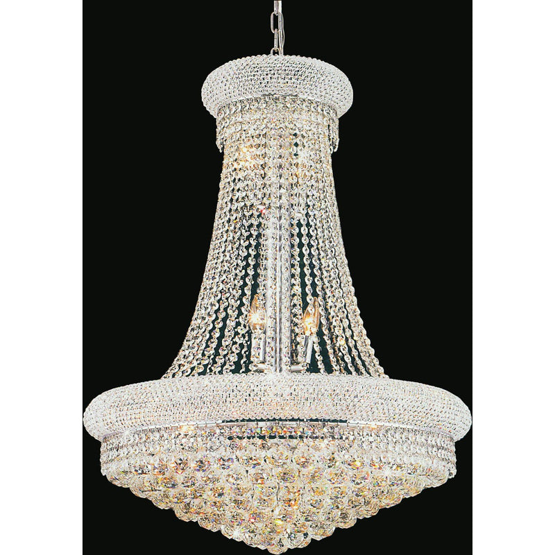 CWI Lighting Chandeliers Chrome / K9 Clear Empire 17 Light Down Chandelier with Chrome finish by CWI Lighting 8001P24C