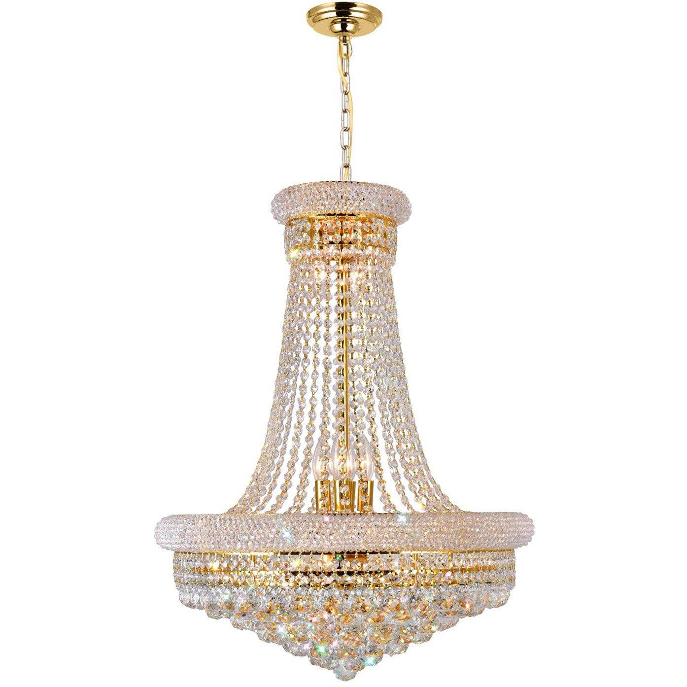 CWI Lighting Chandeliers Gold / K9 Clear Empire 17 Light Down Chandelier with Gold finish by CWI Lighting 8001P24G