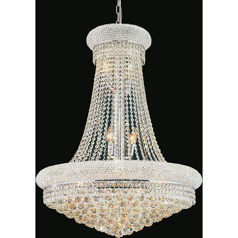 CWI Lighting Chandeliers Chrome / K9 Clear Empire 18 Light Down Chandelier with Chrome finish by CWI Lighting 8001P28C