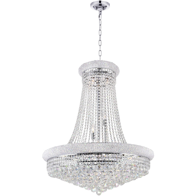 CWI Lighting Chandeliers Chrome / K9 Clear Empire 19 Light Down Chandelier with Chrome finish by CWI Lighting 8001P32C