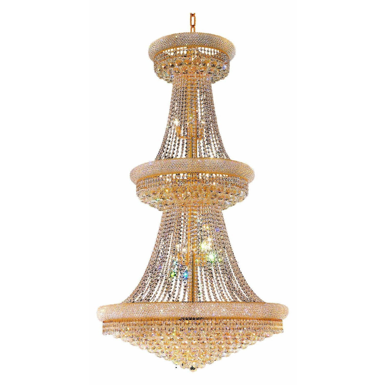 CWI Lighting Chandeliers Gold / K9 Clear Empire 38 Light Down Chandelier with Gold finish by CWI Lighting 8001P42G