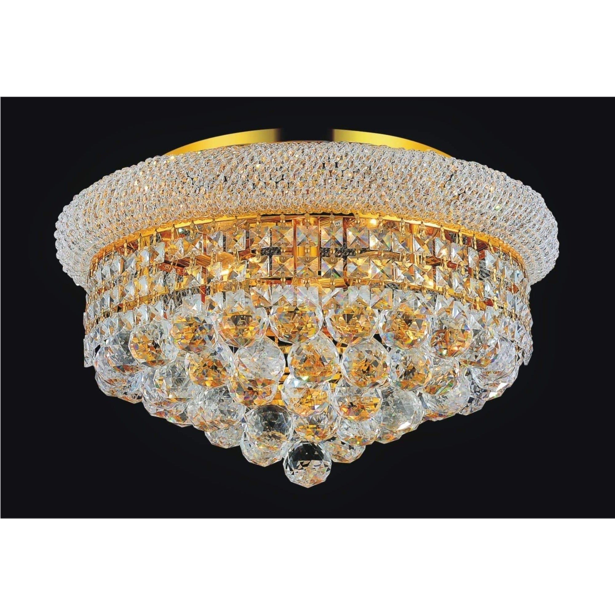 CWI Lighting Flush Mounts Gold / K9 Clear Clear Empire 5 Light Flush Mount with Gold Finish by CWI Lighting 8001C18G