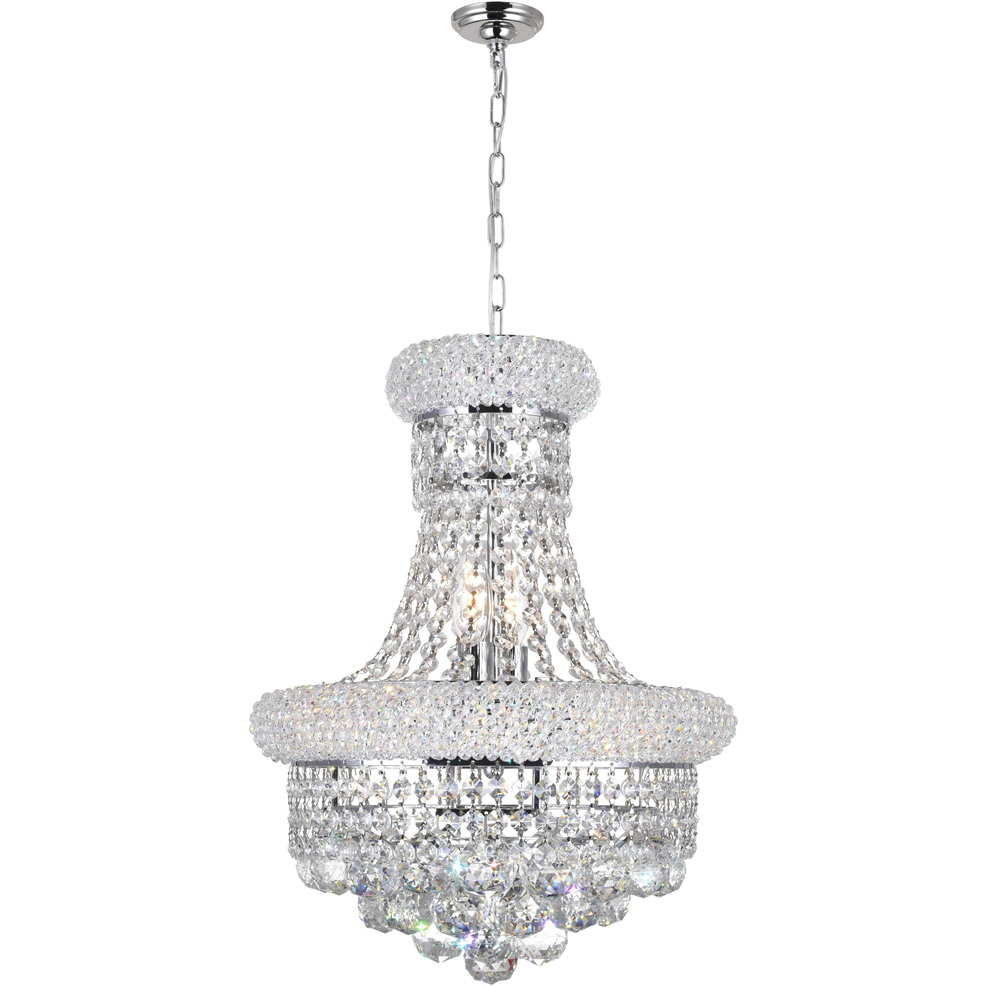 CWI Lighting Chandeliers Chrome / K9 Clear Empire 6 Light Chandelier with Chrome finish by CWI Lighting 8001P14C