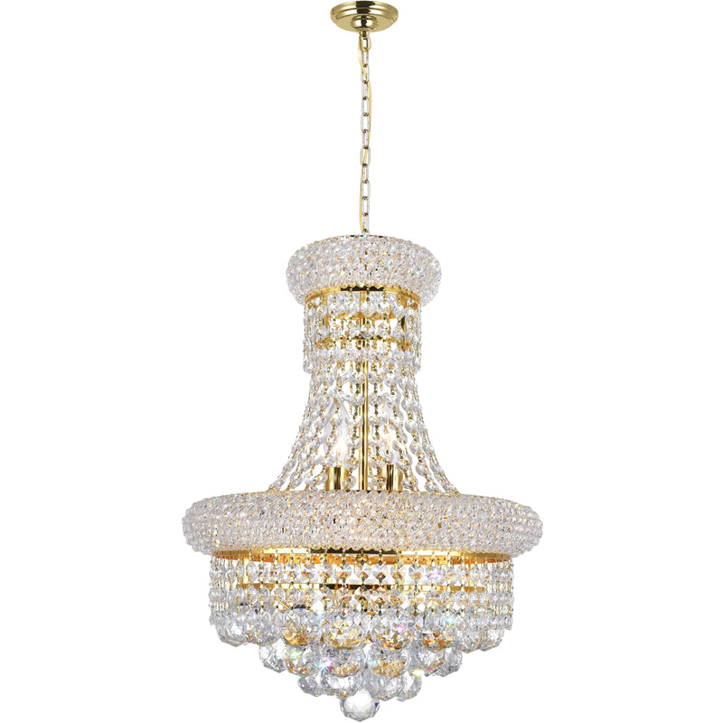CWI Lighting Chandeliers Gold / K9 Clear Empire 6 Light Chandelier with Gold finish by CWI Lighting 8001P14G