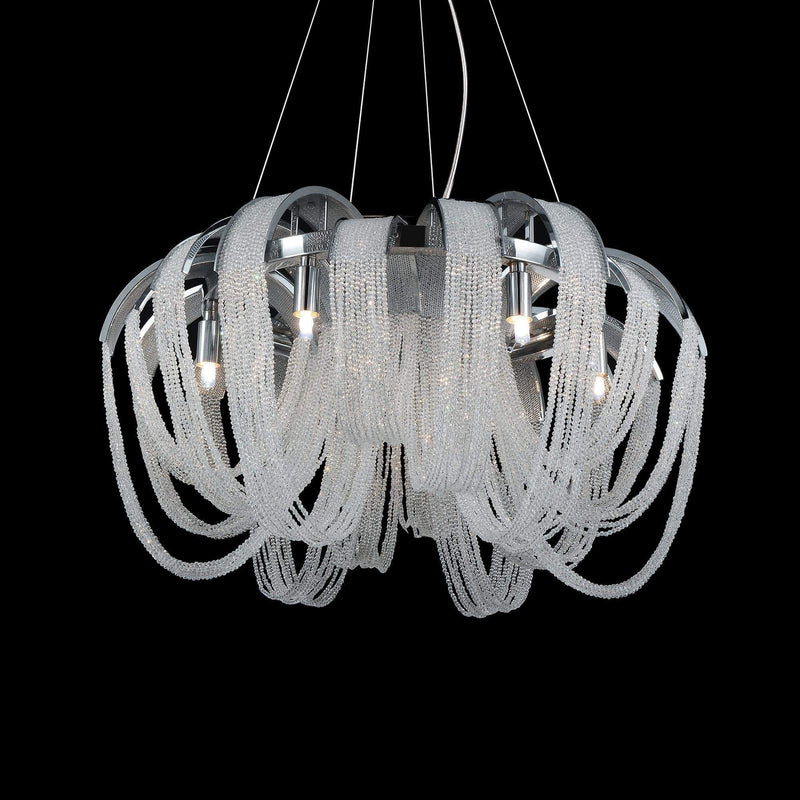 CWI Lighting Chandeliers Chrome / K9 Clear Engaged 4 Light Down Chandelier with Chrome finish by CWI Lighting 5615P18C