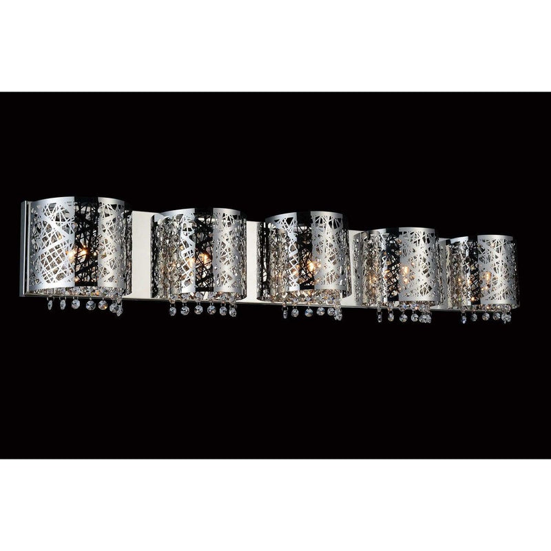 CWI Lighting Bathroom Lighting Chrome / K9 Clear Eternity 5 Light Vanity Light with Chrome finish by CWI Lighting 5008W42ST-R-5