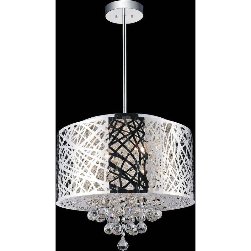 CWI Lighting Chandeliers Chrome / K9 Clear Eternity 6 Light Drum Shade Chandelier with Chrome finish by CWI Lighting 5008P16ST-R