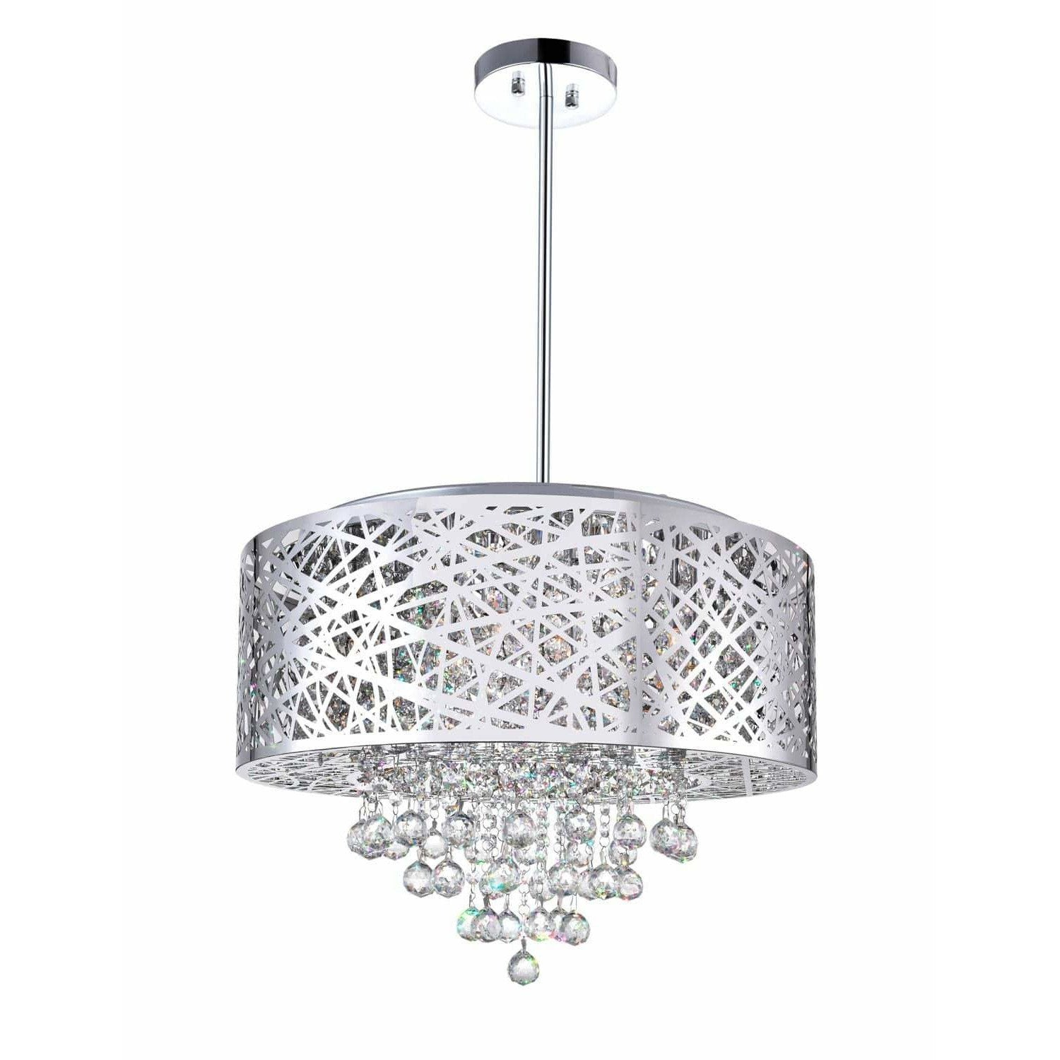 CWI Lighting Chandeliers Chrome / K9 Clear Eternity 9 Light Drum Shade Chandelier with Chrome finish by CWI Lighting 5008P22ST-R