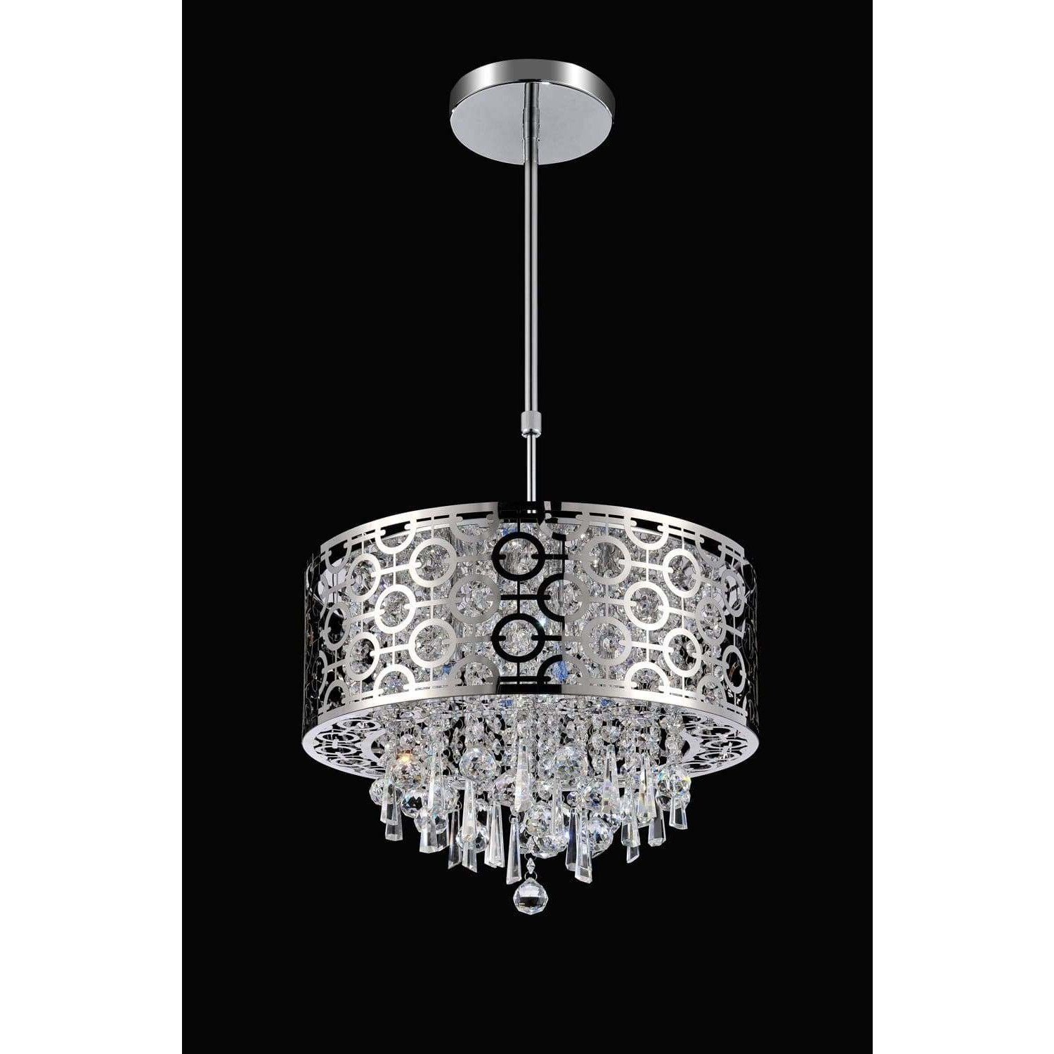 CWI Lighting Pendants Chrome / K9 Clear Galant 3 Light Drum Shade Mini Pendant with Chrome finish by CWI Lighting 5430P12ST-R