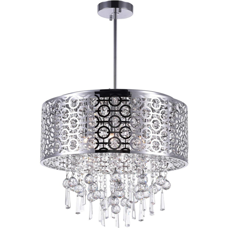 CWI Lighting Chandeliers Chrome / K9 Clear Galant 6 Light Drum Shade Chandelier with Chrome finish by CWI Lighting 5430P20ST-R