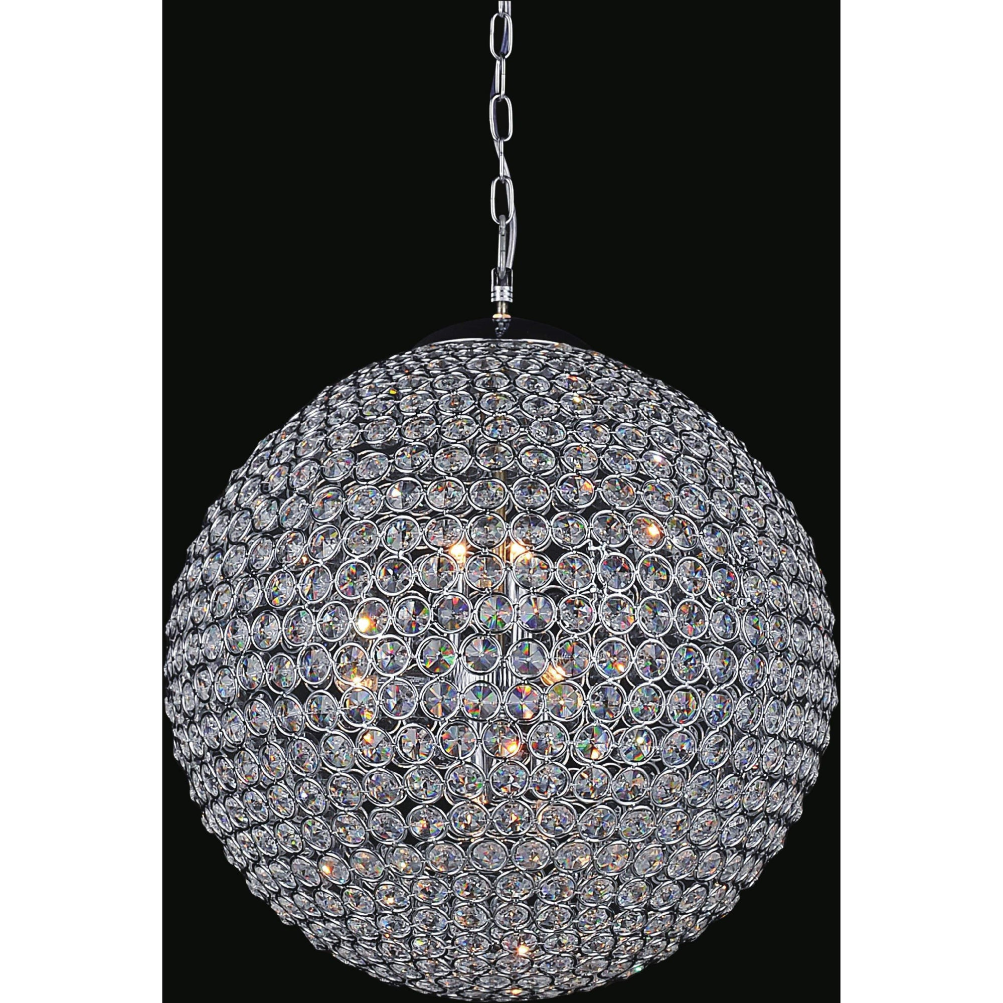 CWI Lighting Chandeliers Chrome / K9 Clear Globe 26 Light Chandelier with Chrome finish by CWI Lighting QS8353P40C