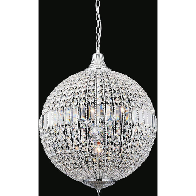 CWI Lighting Chandeliers Chrome / K9 Clear Globe 4 Light Chandelier with Chrome finish by CWI Lighting QS8370P18C