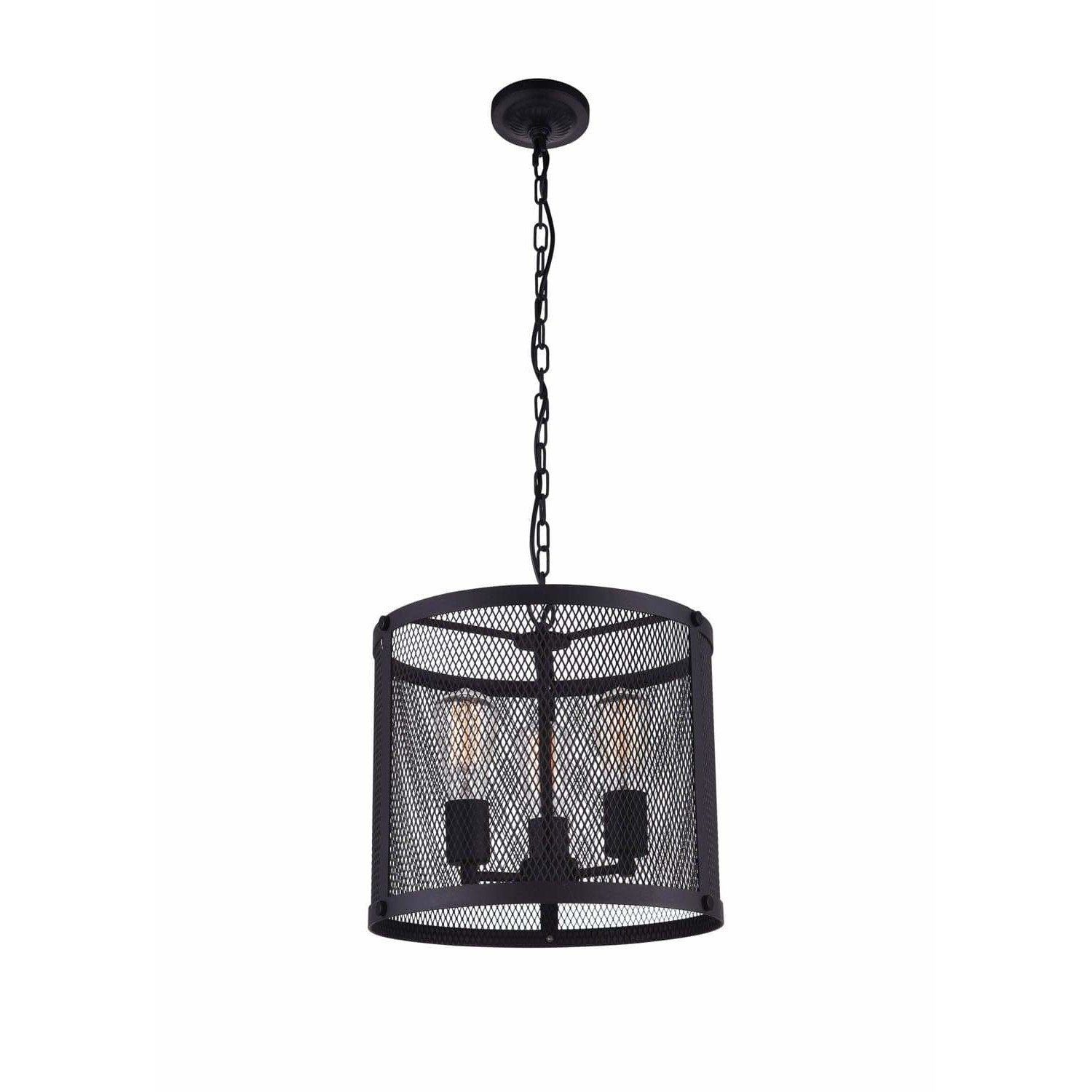 CWI Lighting Pendants Reddish Black Heale 3 Light Drum Shade Pendant with Reddish Black finish by CWI Lighting 9937P14-3-219