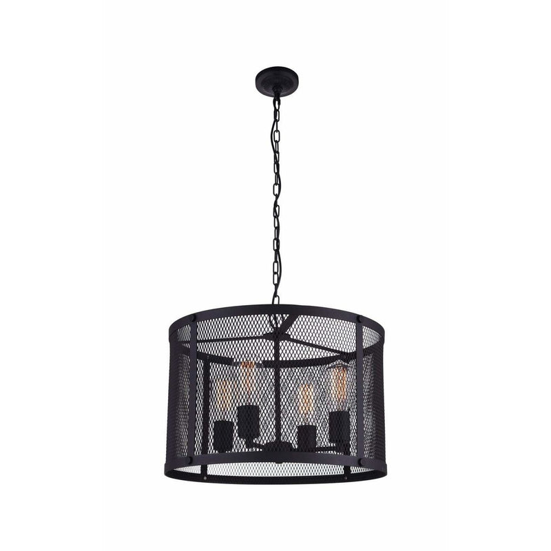 CWI Lighting Pendants Reddish Black Heale 4 Light Drum Shade Pendant with Reddish Black finish by CWI Lighting 9937P18-4-219